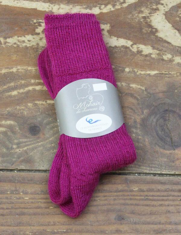 Chaussettes fines Mohair - Rose Thyrien 3 - Une Ferme à la Bassette